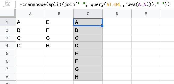 TRANSPOSE SPLIT JOIN QUERY functions