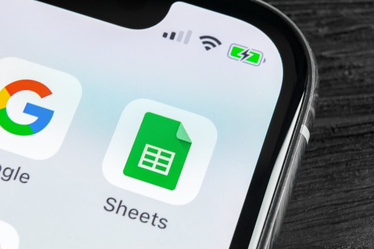 Google Sheets icon on iPhone