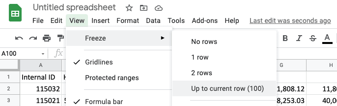 Freeze 100 Header Rows in Google Sheets (Prank!)